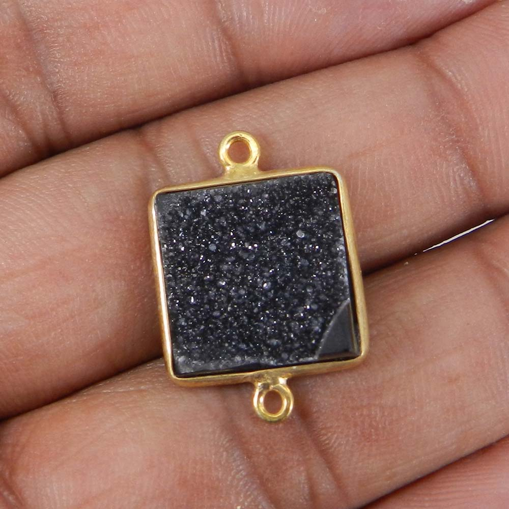 Black Druzy 23x16mm Square Silver With Gold Plated Double Loop Connector