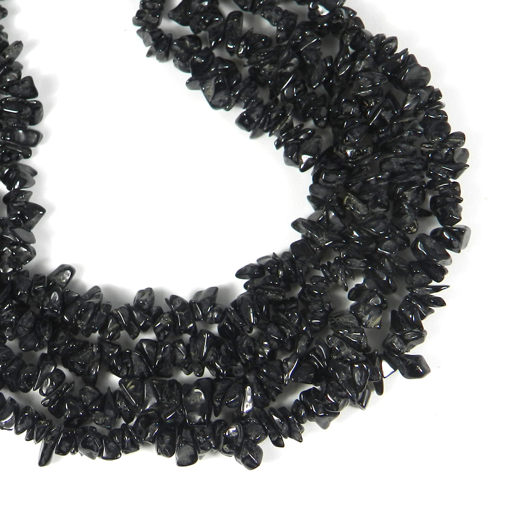 Black Obsidian 34 Inch Chips Strand Beads 246.85 Cts
