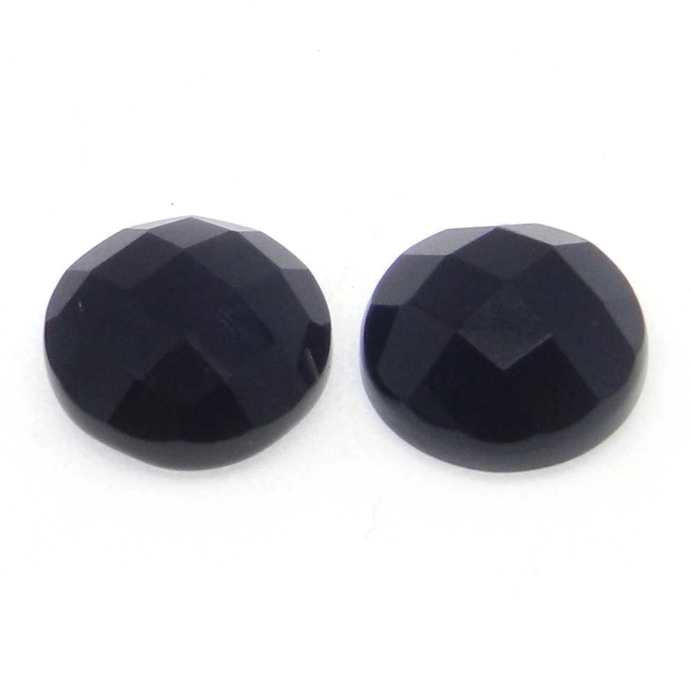 Black Onyx 10mm Checkerboard Cut Round Cab 3.3 Cts