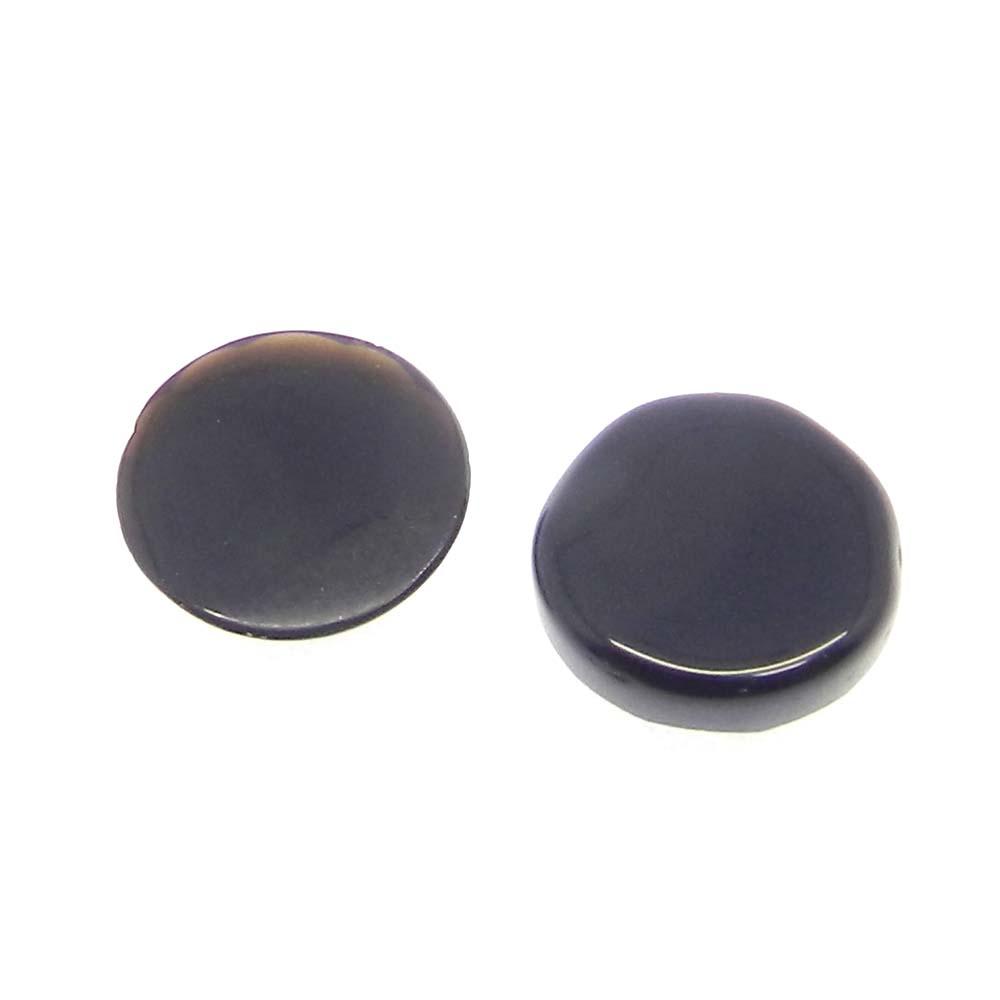 Black Onyx 10mm Round Checkerboard Cut Cab 2.4 Cts