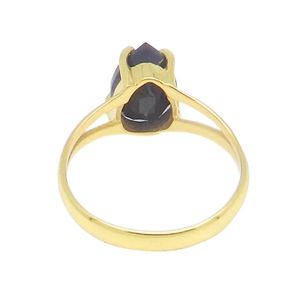 Black Onyx 10x7mm Pear 18k Gold Plated Silver Prong Set Ring