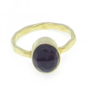Black Onyx 10x8mm Oval 925 Silver With Gold Plated Bezel Set Ring