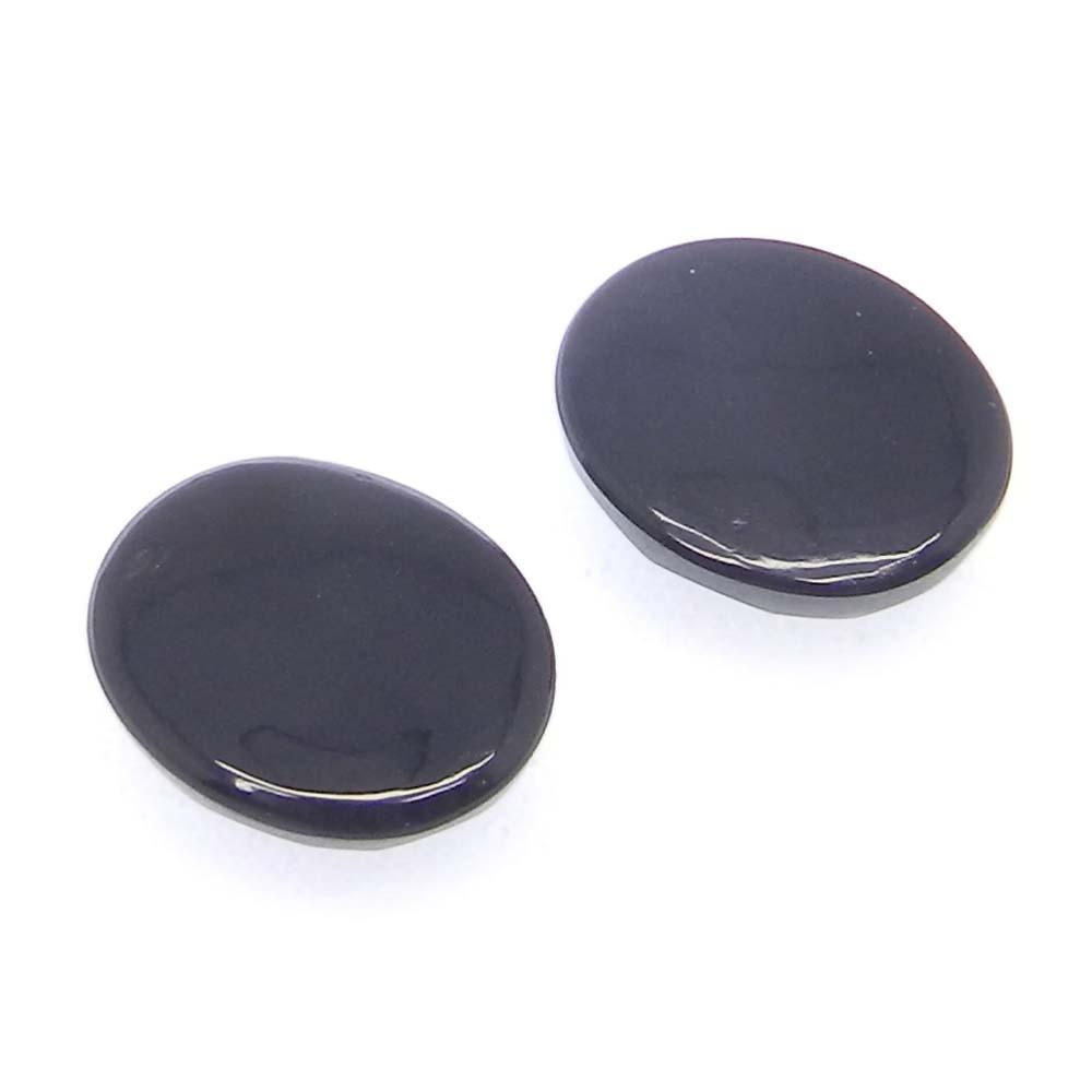 Black Onyx 12x10mm Oval Cab Checkerboard Cut  4.75 Cts