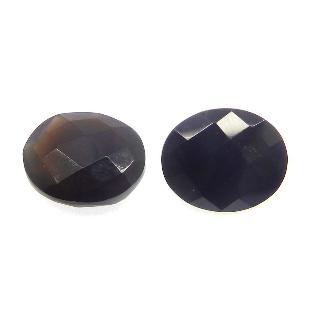 Black Onyx 12x10mm Oval Checkerboard Cut 4.2 Cts