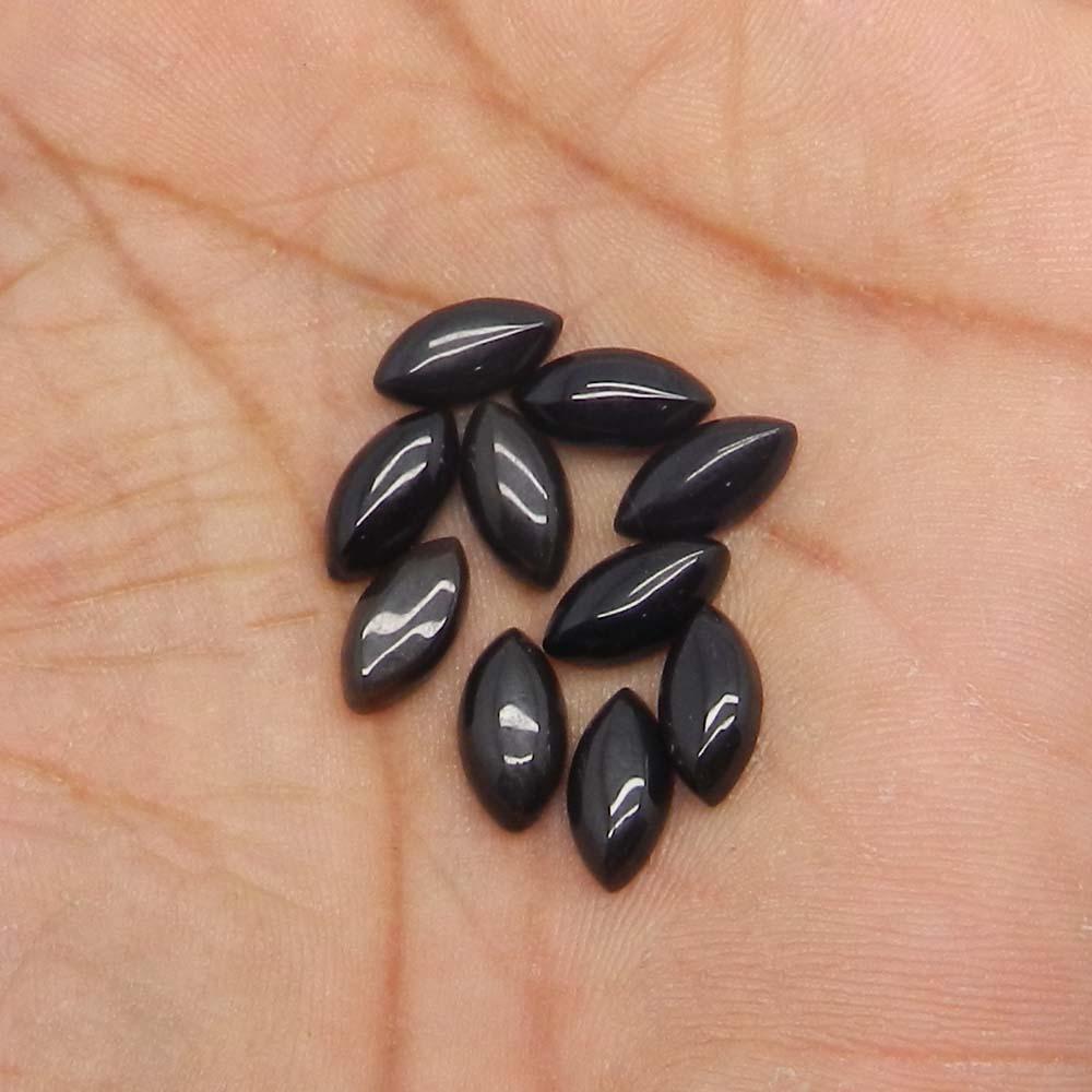 Black Onyx 12x6mm Marquise Cabochon 1.93 Cts