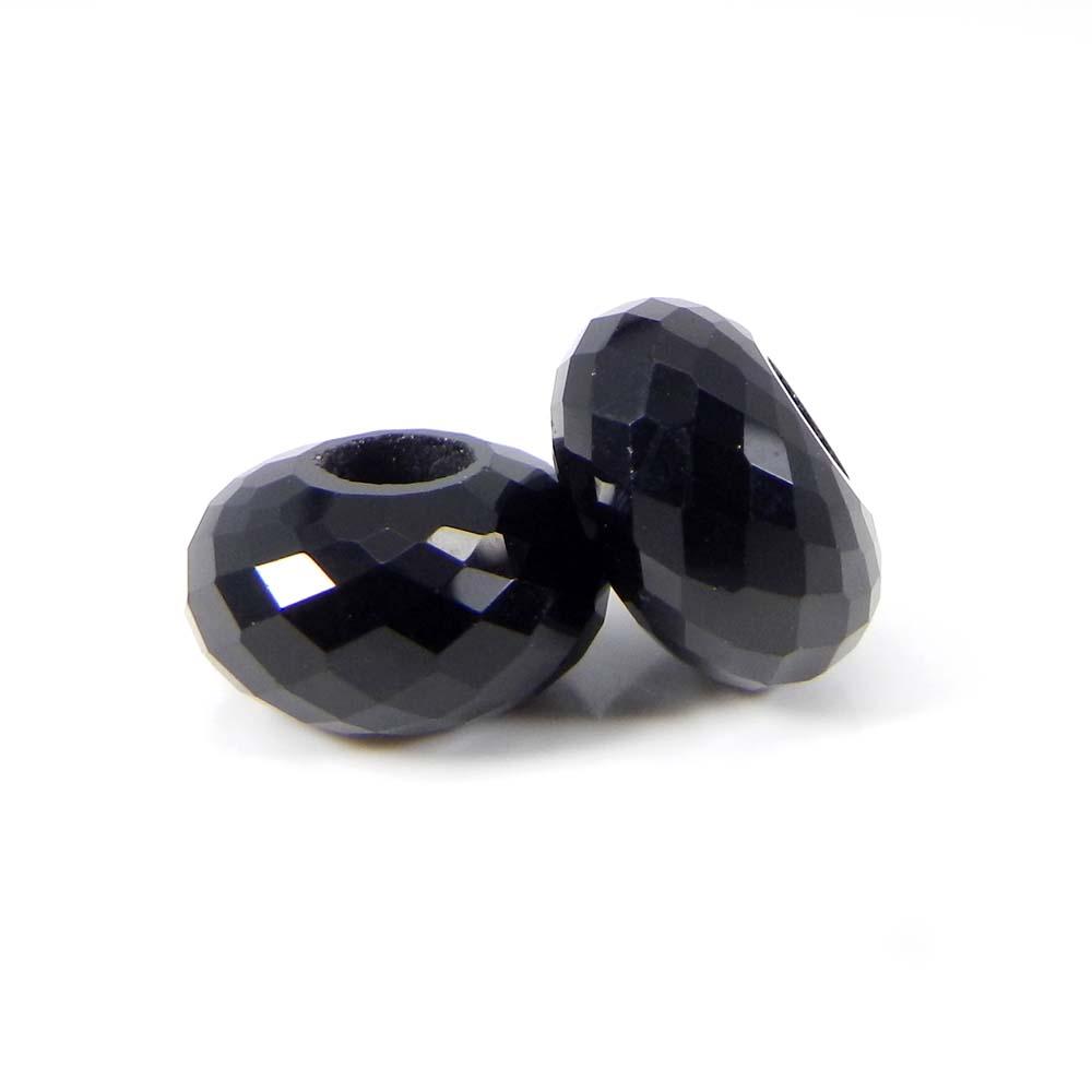 Black Onyx 14x8x4.5mm Roundel Facet  Beads