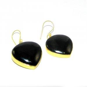 Black Onyx 18k Gold plated Bezel Earring