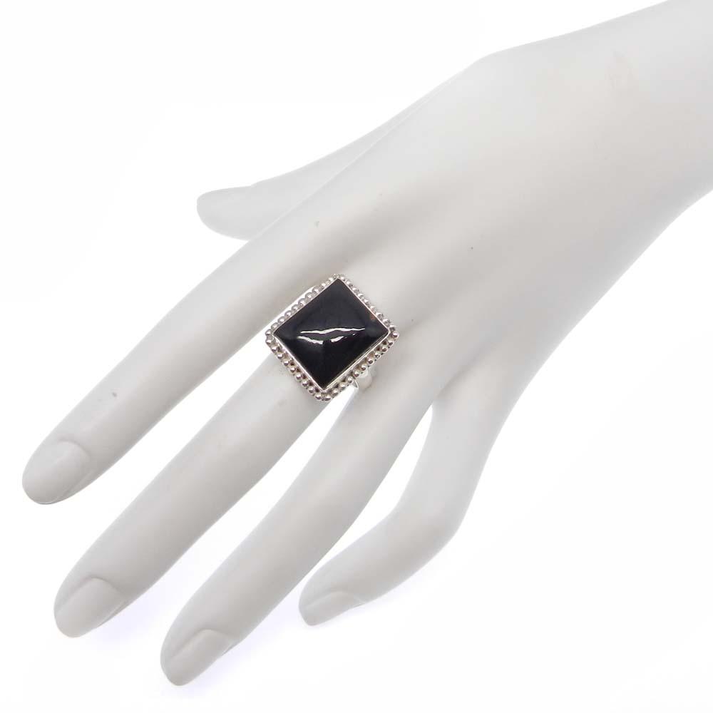 Black Onyx 19x17mm Rectangle 925 Silver Bezel Set Ring