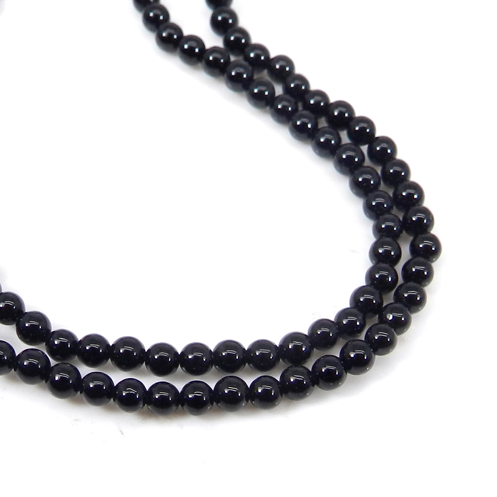 Black Onyx 2.15mm Smooth Round Beads 16 Inch Length 14.25 Cts