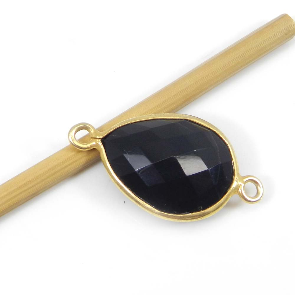 Black Onyx 24x13mm Pear Silver with Gold Plated Double Loop Connector