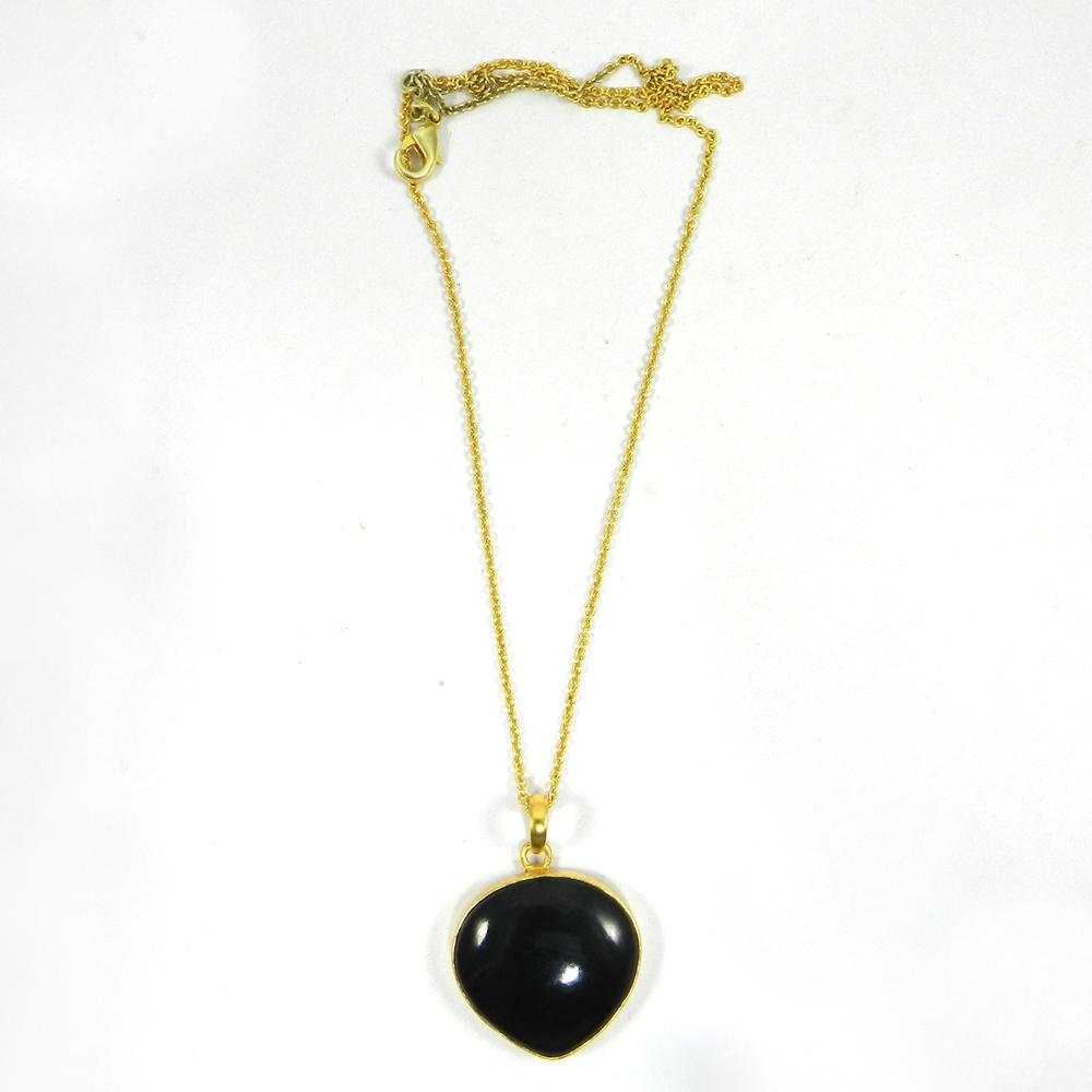 Black Onyx 34mm 18K Gold Plated Bezel Pendant