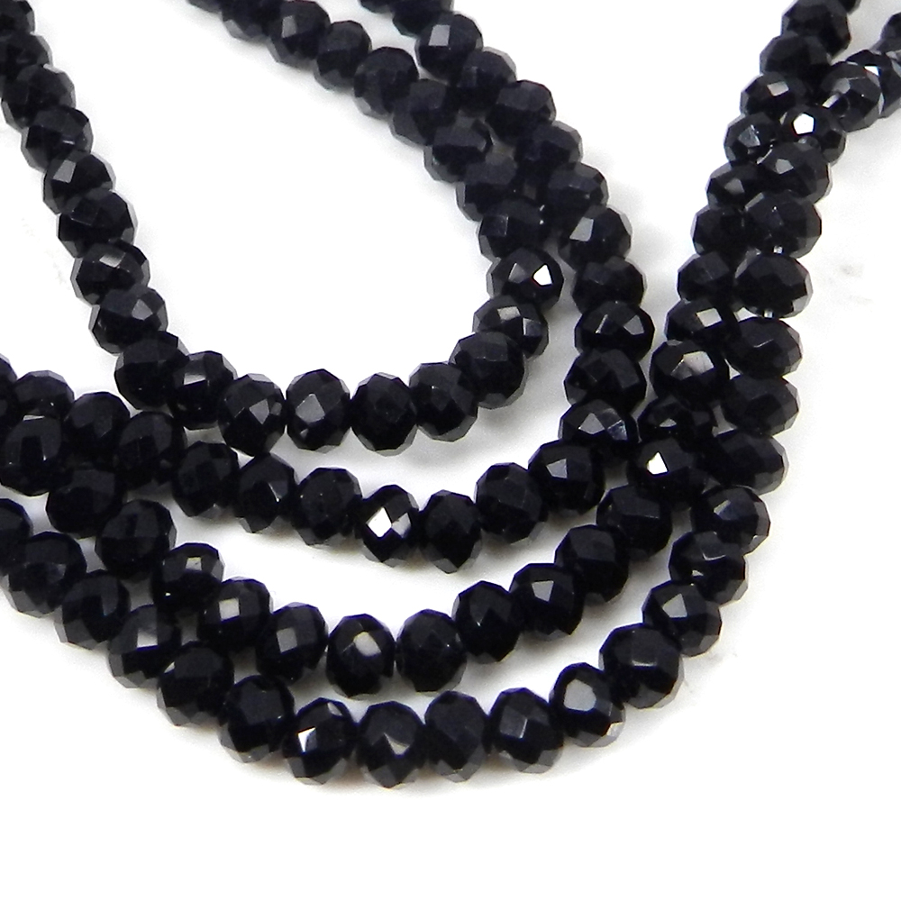 Black Onyx 3.50mm Faceted Round Beads 15 Inch Length 60.30 Cts