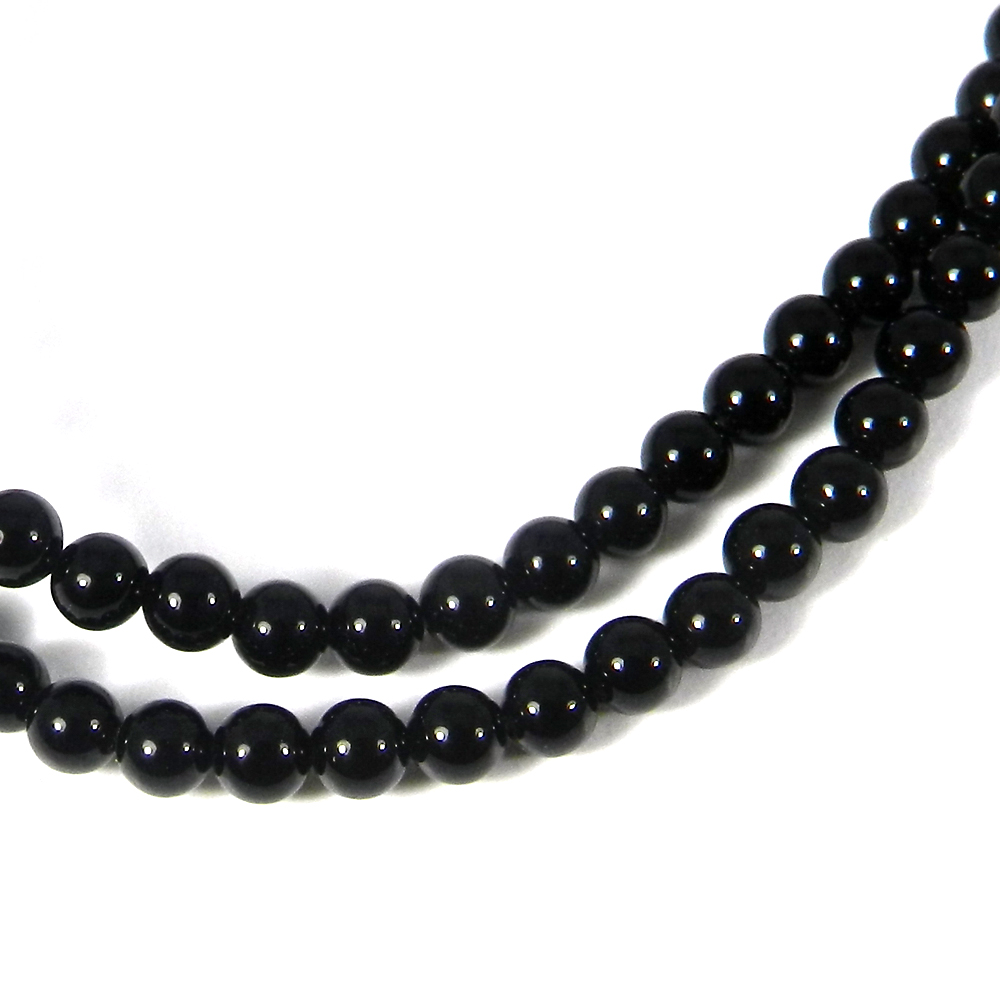 Black Onyx 3mm 16 Inch Smooth Round Beads 28.65 Cts