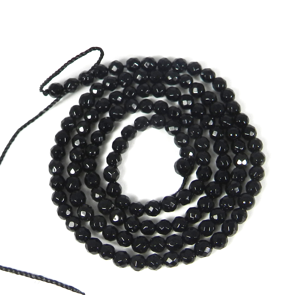 Black Onyx 3mm Faceted Round Beads 15 Inch Length 23.80 Cts