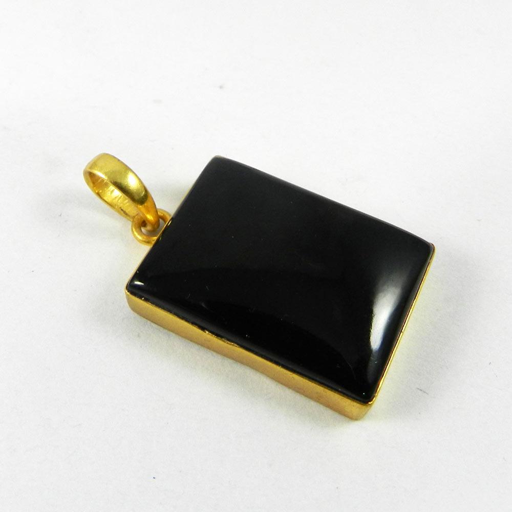 Black Onyx 44mm 18k Gold Plated Bezel Pendant
