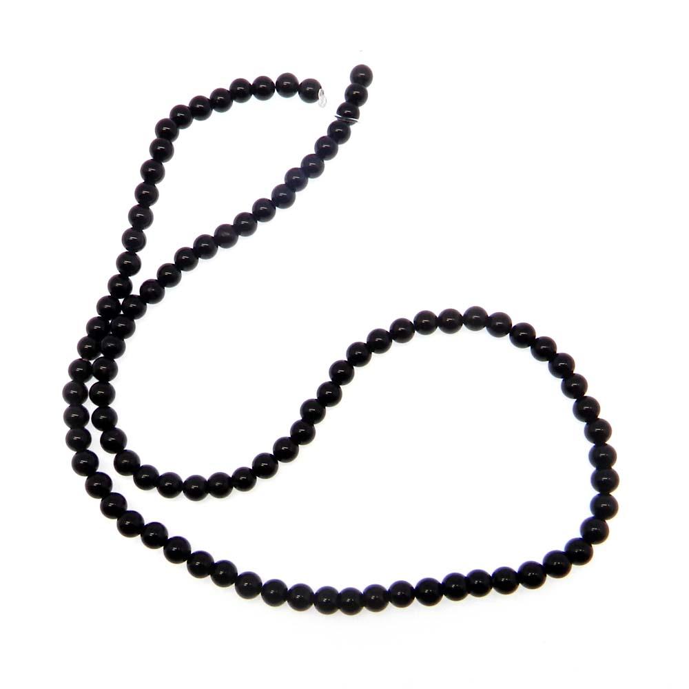 Black Onyx 4mm Round Plain 16 inch Beads
