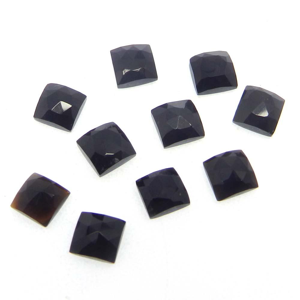 Black Onyx 5x5mm Square Rose Cut Cab 0.63 Cts