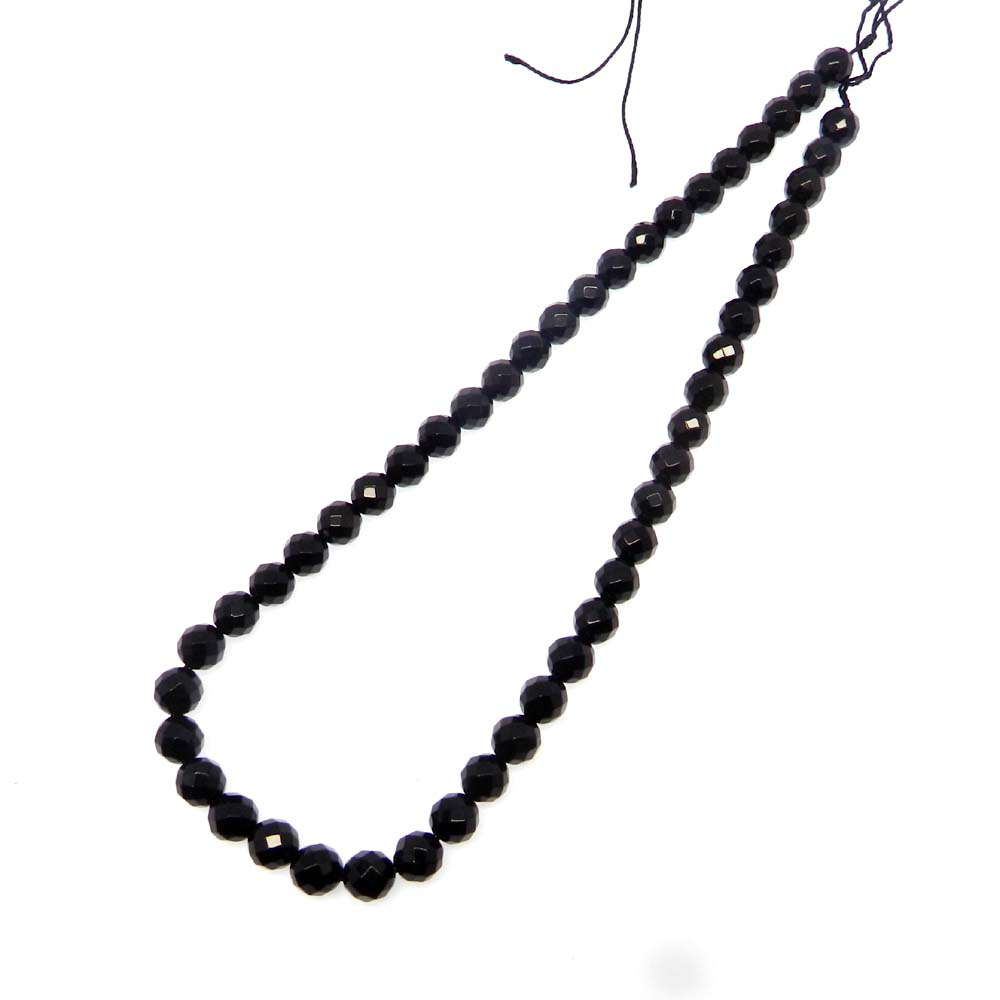 Black Onyx 7.5mm Roundel Facet 15 inch Beads