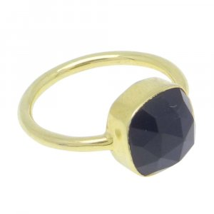 Black Onyx 9x9mm Cushion 925 Silver With Gold Plated Bezel Set Ring