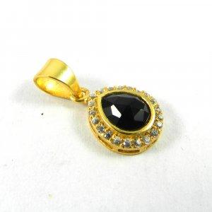 Black Onyx & CZ 25mm 18k Gold Plated Bezel Pendant