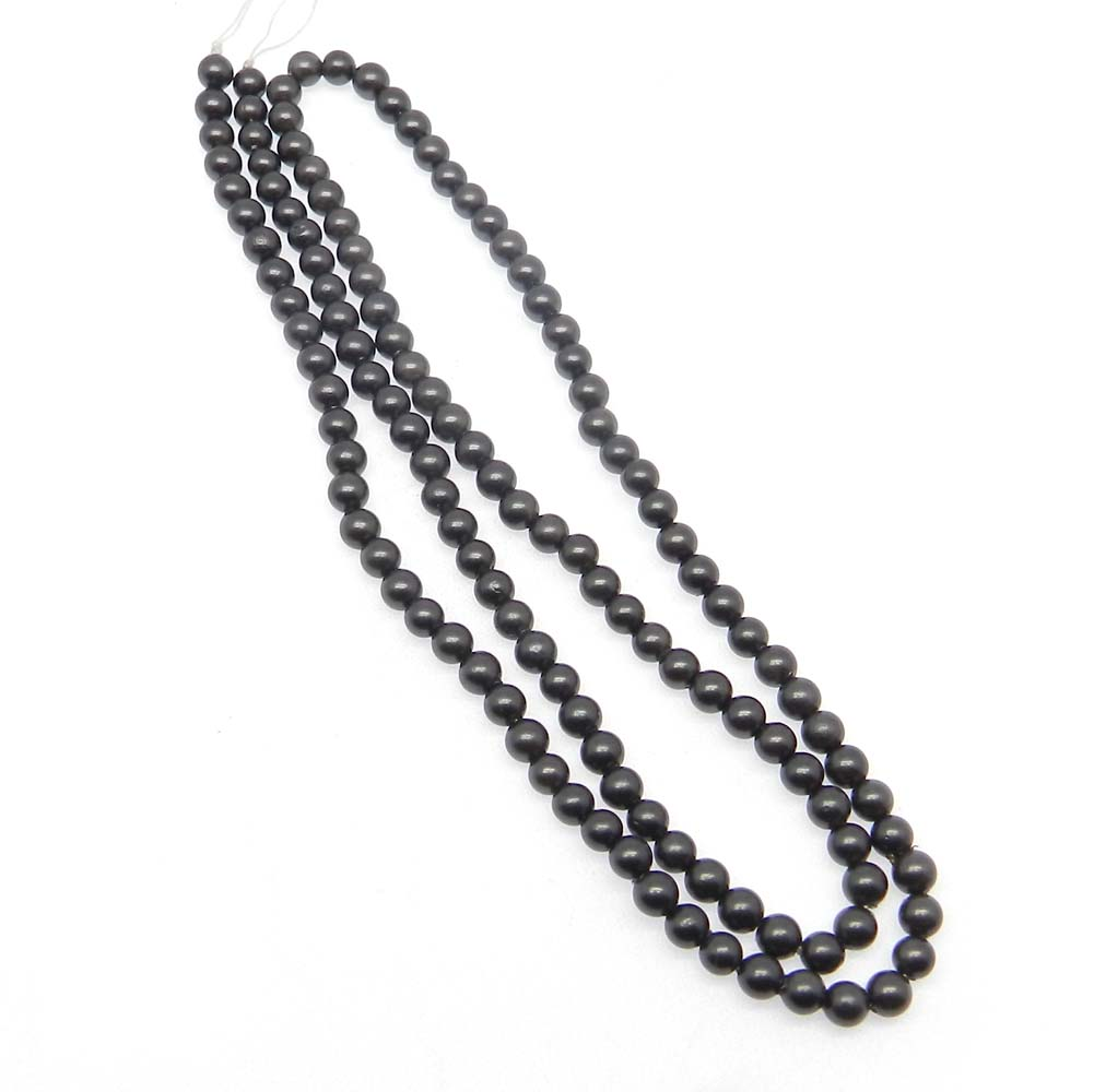 Black Pearl Plain 3.5mm Round Smooth 6 inch Strand Beads