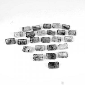 Black Rutile Quartz 11x7mm Octagon Baguette Cut 3.00 Cts