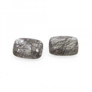 Black Rutile Quartz 14x10mm Cushion Cut 6.30 Cts