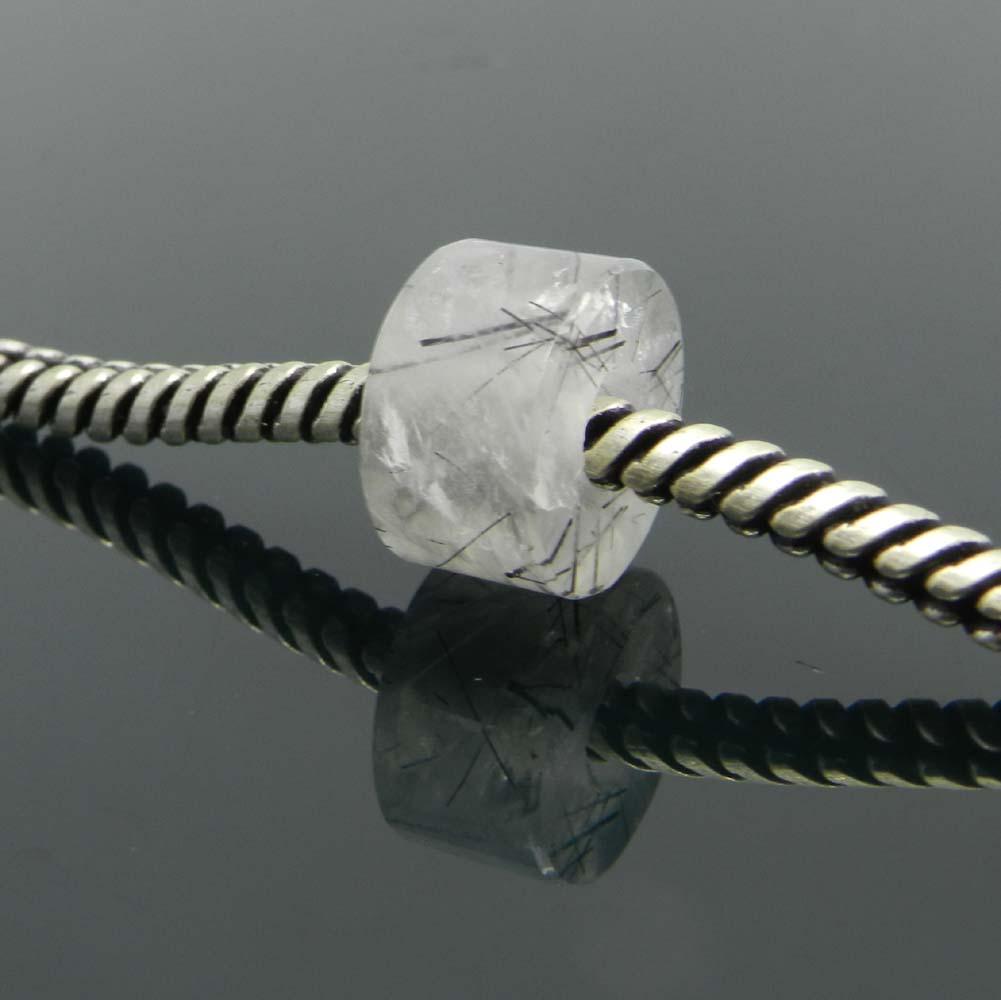 Black Rutile Quartz 14x8x5mm Round Flat Beads IG0188