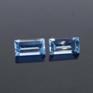 Blue Aquamarine 8x4mm Baguette Cut 0.83 Cts