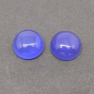 Blue Chalcedony 12mm Round Cabochon 5.65 Cts