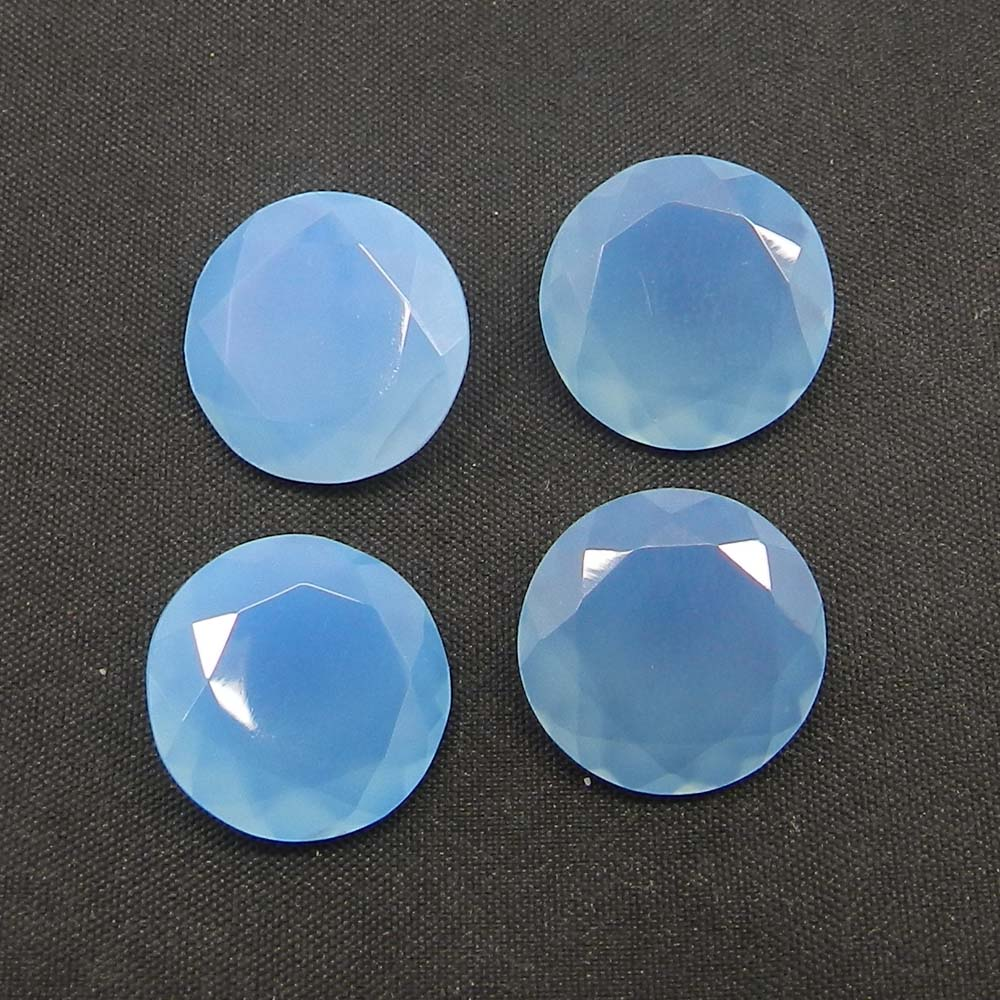 Blue Chalcedony 16mm Round Cut 9.3 Cts