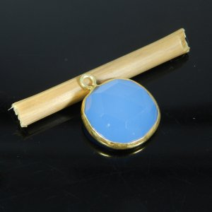 Blue Chalcedony 18x15mm Round 925 Sterling Silver Gold Plated Double Loop Connector