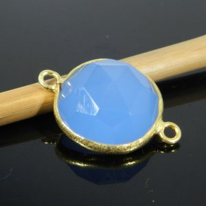 Blue Chalcedony 22x15mm Round 925 Sterling Silver Gold Plated Double Loop Connector