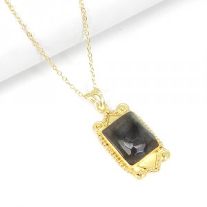 Blue Fire Labradorite 18K Gold Plated Designer Pendant With Chain