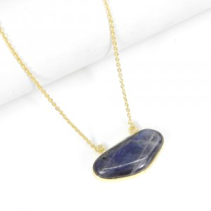 Blue Fire Labradorite 20 Inch 18K Gold Plated Plain Pendant With Chain For Her
