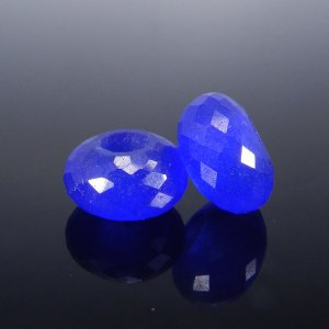 Blue Hydro Big Hole Roundel Faceted Beads 14x8x5mm