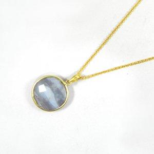 Blue Lace Agate 31mm 18k Gold Plated Bezel Pendant