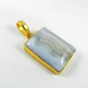 Blue Lace Agate 38mm 18k Gold Plated Bezel Pendant