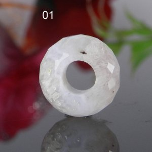 Blue Lace Agate Big Hole Roundel Faceted Troll Beads 14x8x5.5mm