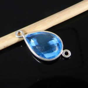 Blue Topaz Hydro 21x11mm Pear 925 Sterling Silver Double Loop Connector