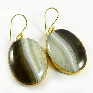Botswana Agate 18k Gold Plated Bezel Earring