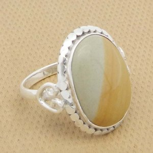 Brecciated Mookaite 21x19mm Oval 925 Silver Bezel Set Ring
