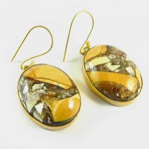 Brecciated Mookaite Jasper 18k Gold Plated Bezel Earring