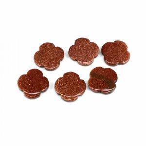 Brown Sunstone Clover Flat 6 Pcs 15x15mm 7.10 Cts Loose Gemstone