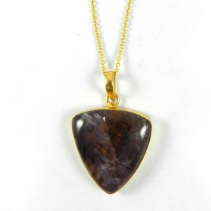 Cacoxenite 40mm 18k Gold Plated Bezel Pendant