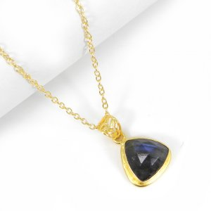 Checker Cut Labradorite 18K Gold Plated Wholesale Pendant With Chain