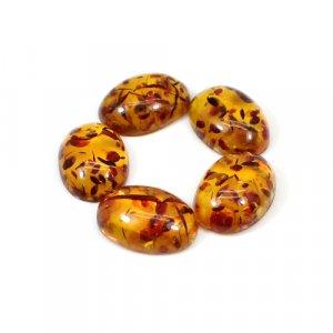 Chinese Amber 19.10 Cts Oval Cabochon 16x12mm 5 Pcs Wholesale Lot