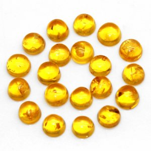 Chinese Amber 4x4mm Round Cabochon 0.35 Cts