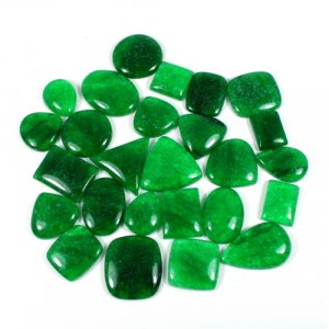 Chinese Emerald Green Jade Mix Shape Cabochon 50 Gram Wholesale Lot