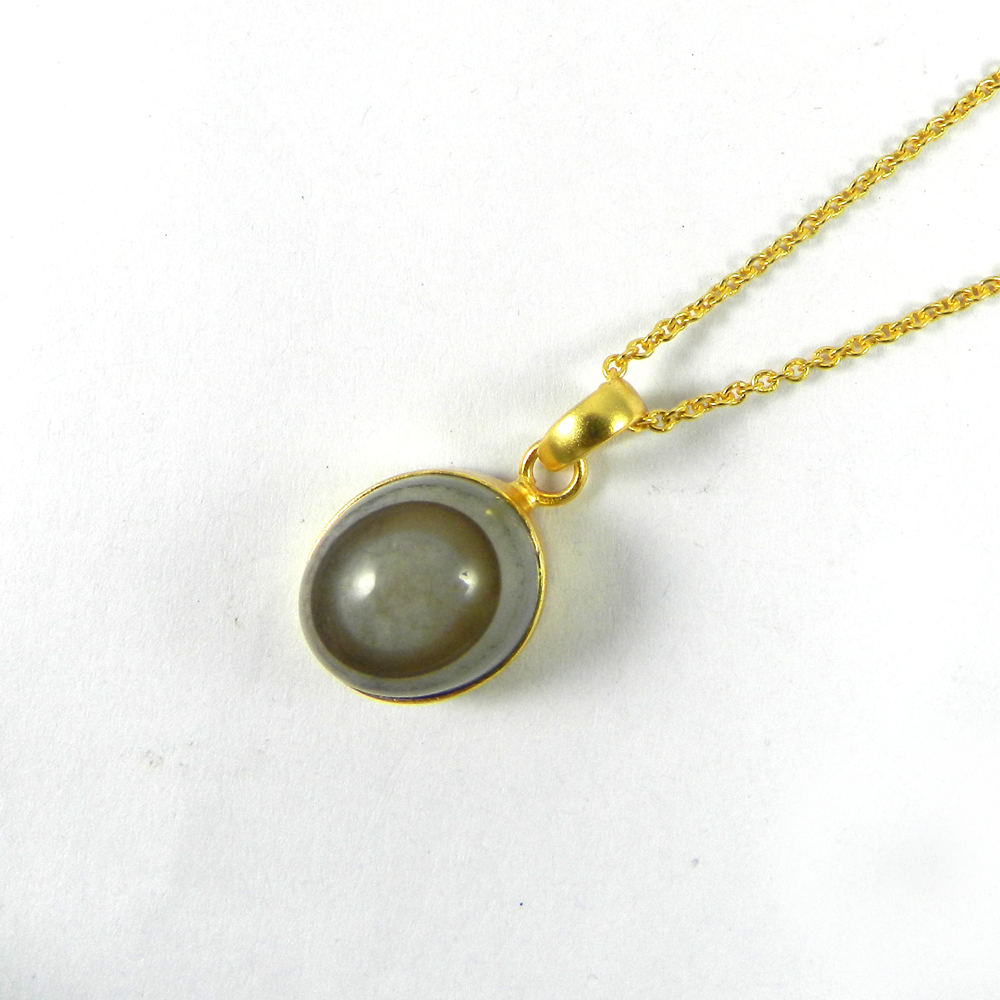 Chinese Eye Agate Opal 26mm 18k Gold Plated Pendant
